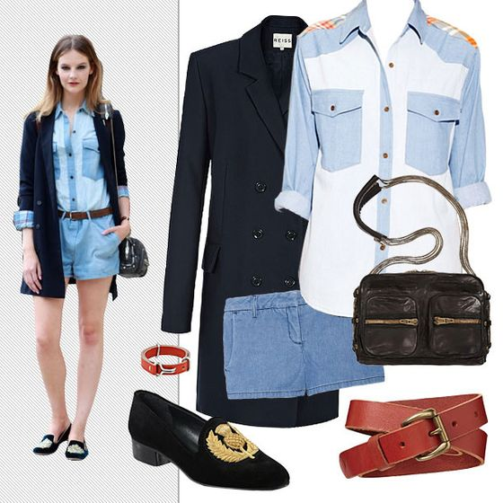 "Patch denim shirt, $84 at <a href=""http://www.pixiemarket.com/store/patchdenimshirt-p-4822.html"">Pixie Market</a>; Theory Yanima denim shorts, $140 at <a href=""http://www.net-a-porter.com/product/310104"">Net-a-Porter</a>; Gap smooth leather belt, $29.95 at <a href=""http://www.gap.com/browse/product.do?cid=37894&vid=1&pid=280005&scid=280005012"">Gap;</a> Giles & Brother visor bracelet, $115 at <a href=""http://www.gilesandbrother.com/collections/summer-2012/products/visor-bracelet-silver"">Giles & Brother</a>; Reiss Mira oversize jacket coat, $233 at <a href=""http://www.reissonline.com/us/shop/womens/womens_sale/coats_and_jackets/coats/mira/navy/"">Reiss</a>; Stuart Weitzman embroidered suede  smoking slippers, $375 at <a href=""http://www.saksfifthavenue.com/main/ProductDetail.jsp?FOLDER%3C%3Efolder_id=2534374306418049&PRODUCT%3C%3Eprd_id=845524446484694&R=883400426119&P_name=Stuart+Weitzman&N=4294912398+306418049&bmUID=jx.6Hla"">Saks</a>; Alexander Wang Brenda shoulder bag, $725 at <a href=""http://www.barneys.com/Alexander-Wang-Brenda-Shoulder-Bag/00505009941182,default,pd.html"">Barneys</a>."