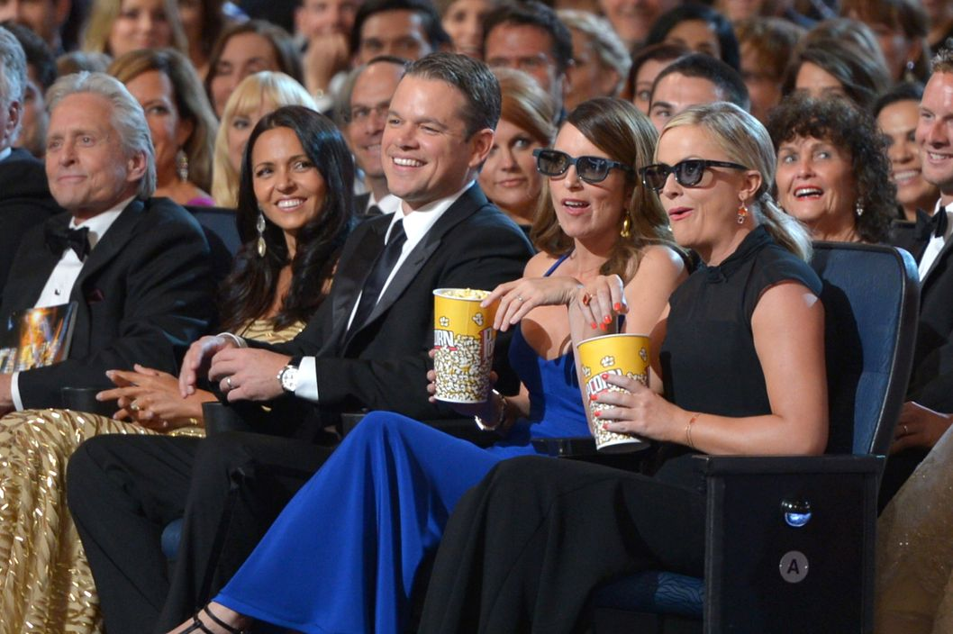 Michael Douglas, Luciana Barroso, Matt Damon, Tina Fey and Amy Poehler in the audience at the 65th Primetime Emmy Awards at Nokia Theatre on Sunday Sept. 22, 2013, in Los Angeles.