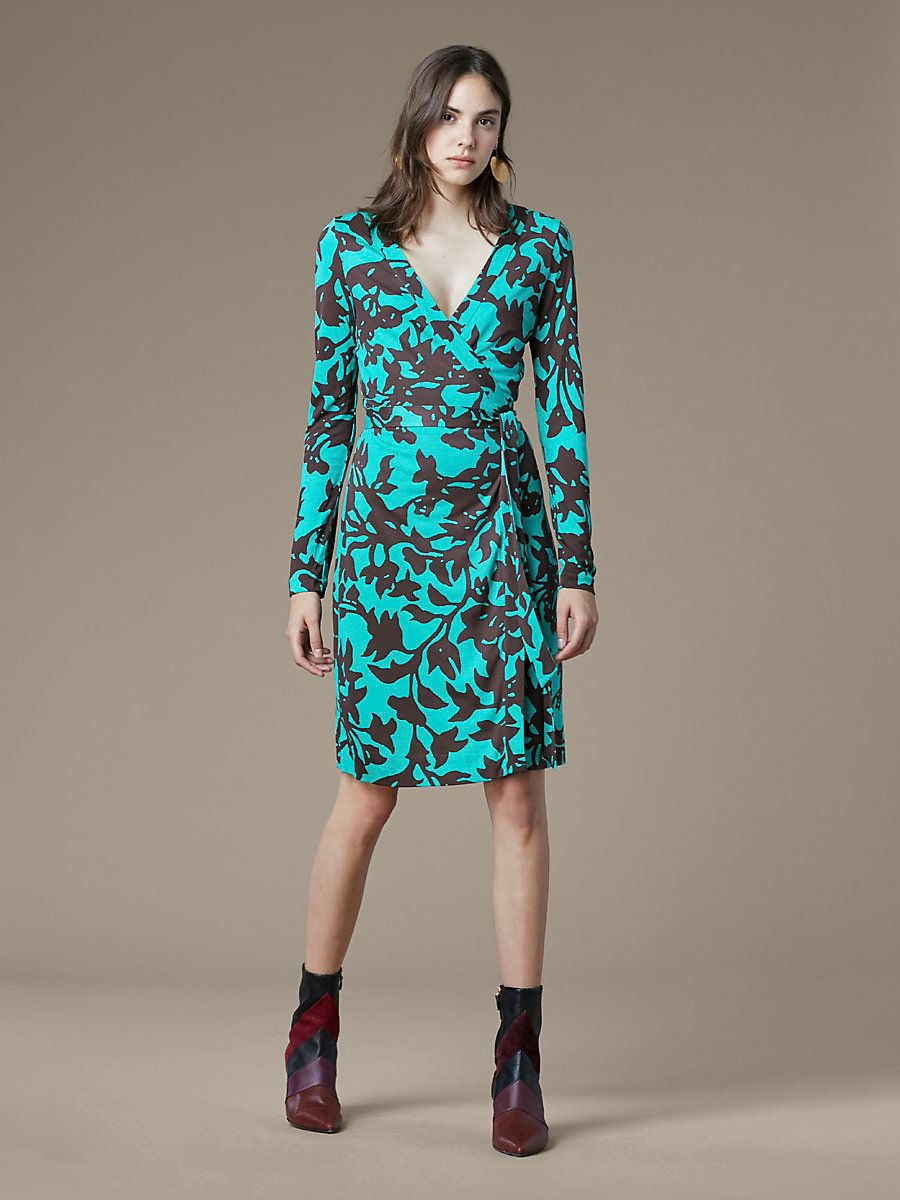 Julian Banded Silk Jersey Wrap Dress, Brulon Aquamarine