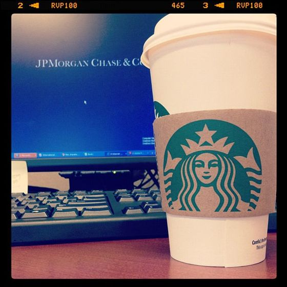 Another JPMorgan Instagrammer, @m2xu, Ansel Adams-ed a coffee break.