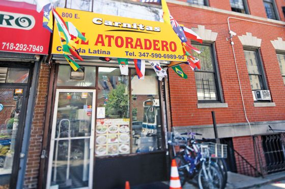 17.   <b>Carnitas el Atoradero</b>  Under the extremely hands-on supervision of proprietress Lina Chavez, a popular Mott Haven Mexican bodega has evolved, as popular bodegas are wont to do, into an adjacent restaurant, serving the specialties that were once confined to weekends. Chief among them are Chavez's carnitas, dredged from the cauldron of their own fat, or manteca, in which they baste, along with oranges, limes, Fanta, and Coke. Show interest and Chavez will give you a treatise on the recipe, as well as generous samples of her fresh, tangy salsas and various specials of the day. You will find all the expected antojitos (and a few unexpected ones, like the boat-shaped picaditas), and well-constructed cemitas on sesame-seeded rolls. And if none of that persuades you to make the trip, she'll deliver to Manhattan with a $60 minimum.  <i>800 E. 149th St., nr. Tinton Ave., Mott Haven; 347-590-6989</i>