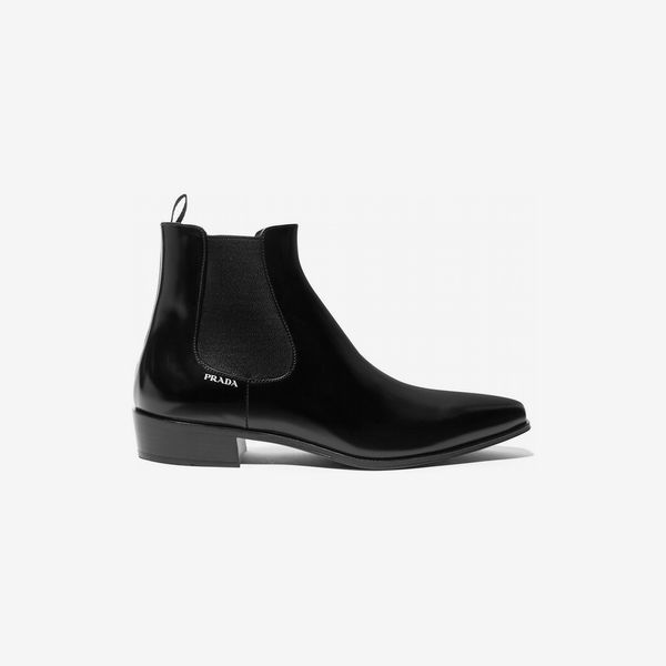 Prada Glossed-Leather Chelsea Boots