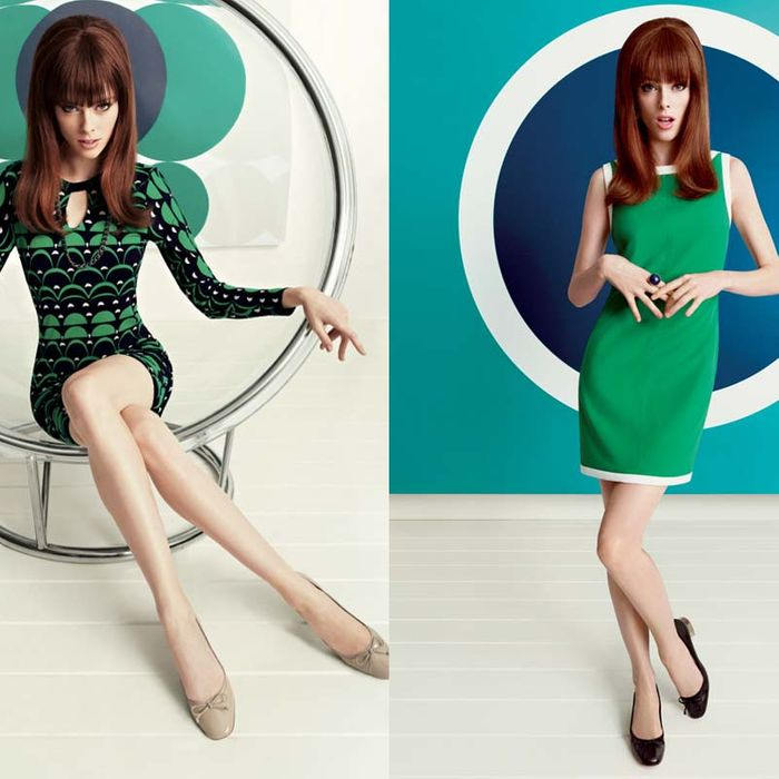 Coco Rocha in Banana Republic's Mad Men collection.