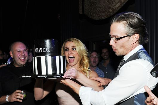 Newly engaged Britney Spears and Fiance Jason Trawick celebrate Jason's 40th birthday at Chateau Nightclub on December 16, 2011 in Las Vegas, Nevada.