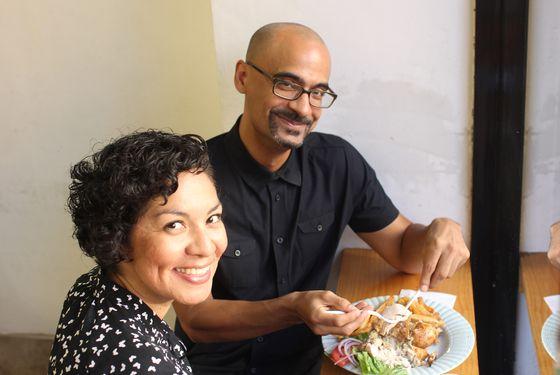 Díaz, right, with Aurora Anaya-Cerda of La Casa Azul bookstore.