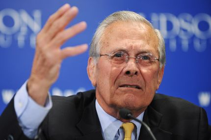 Former US defense secretary Donald Rumsfeld speaks during a discussion on the Pentagon during his time in that office, March 29, 2011 at The Hudson Institute in Washington, DC.