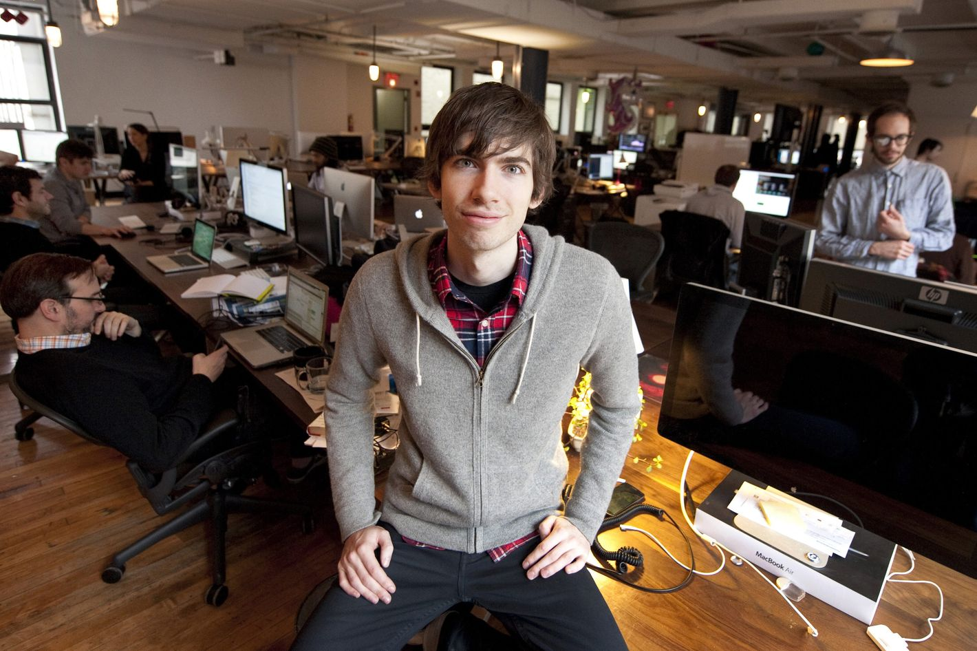 Tumblr-founder David Karp poses for a photo in the headquarters of the microblogging platform and social networking website on February 2, 2012 in New York. The website, which allows users to post text, images, videos, links, quotes and audio to their tumblelog, a short-form blog, was founded by Karp in 2007.