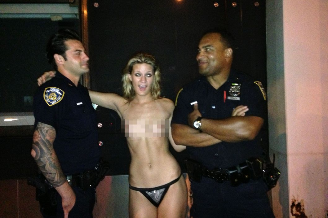 topless pic with cops