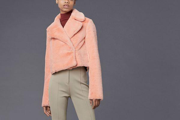 Diane von Furstenberg Long-Sleeve Collared Faux Fur Jacket