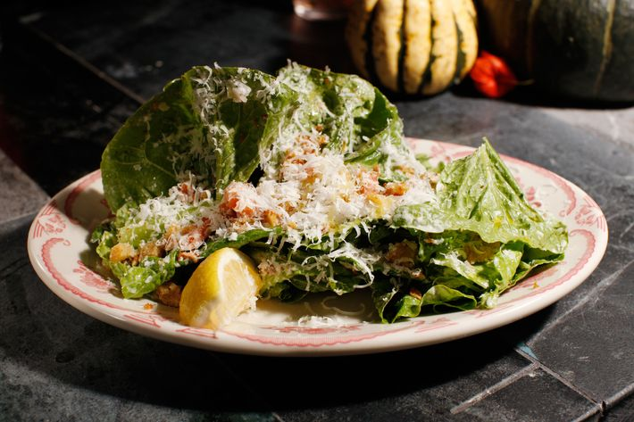 The flakes of trout in this Caesar salad are smoked in house.