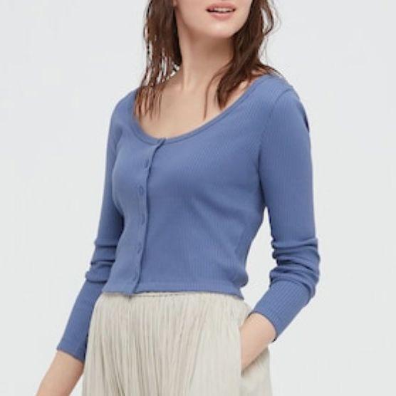 Uniqlo Cotton Ribbed Long-Sleeve Cropped Cardigan