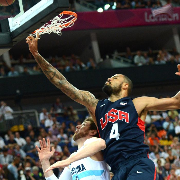 US centre Tyson Chandler jumps for the ball during the London 2012 Olympic Games men's semifinal basketball game between Argentina and the US at the North Greenwich Arena in London on August 10, 2012.