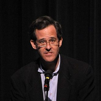 Manhattan Media President Tom Allon speaks during a memorial service for Frank McCourt at Symphony Space on October 6, 2009 in New York City.