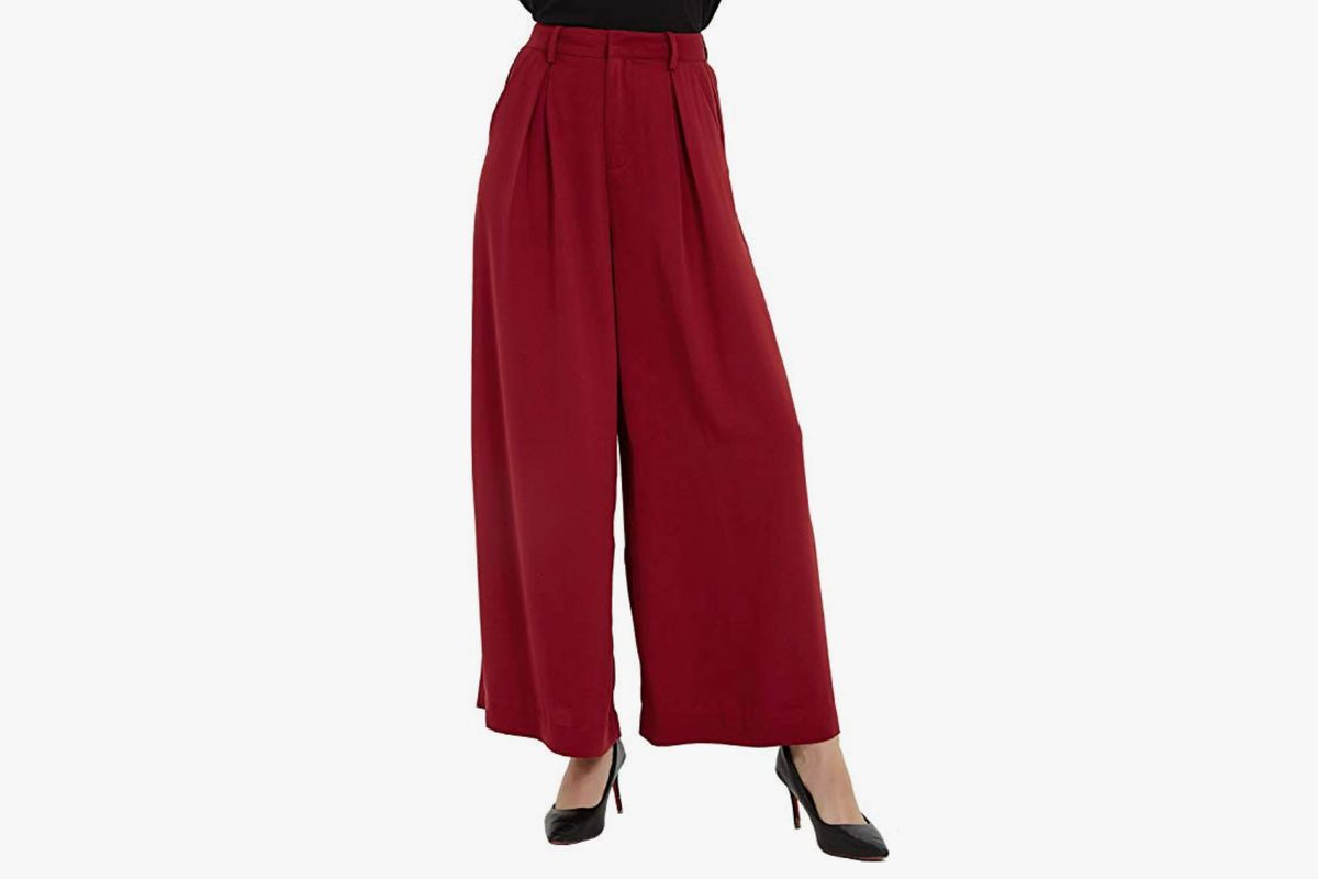 Women Wide Leg Pants Loose High Waisted Palazzo Pants Casual Long Trousers Striped Elastic Waist Lace-up Pants SIN+MON