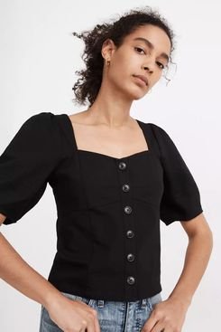 Madewell Linen Button-Front Bodice Top