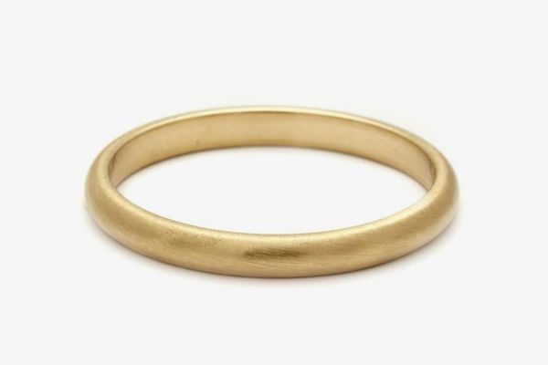 Brushed Half Found Band Yellow Gold