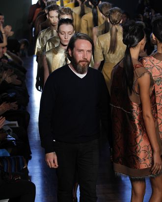 NEW YORK, NY - FEBRUARY 14: Designer Alexandre Herchcovitch and models walk the runway at the Alexandre Herchcovitch fall 2012 fashion show during Mercedes-Benz Fashion Week at The Standard Hotel - The High Line Room on February 14, 2012 in New York City. (Photo by Joe Kohen/Getty Images)