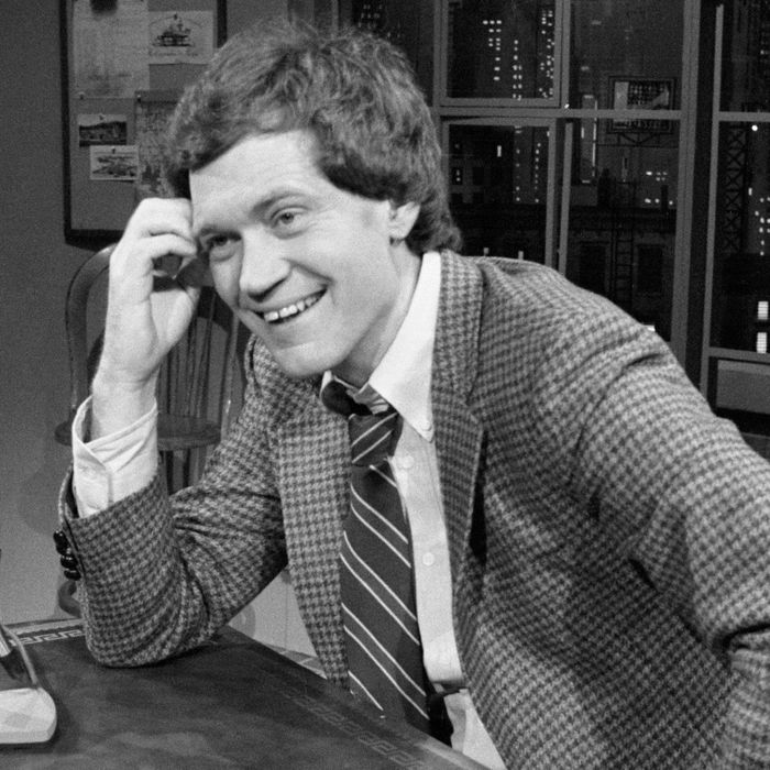 01 Feb 1982, New York City, New York State, USA --- David Letterman smiles as he hosts the premiere of his talk show on NBC television,