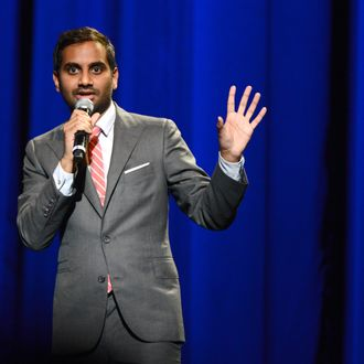 Comedian Aziz Ansari performs onstage the WE HATE HURRICANES Comedy Benefit For AmeriCares at Club Nokia on December 10, 2012 in Los Angeles, California.