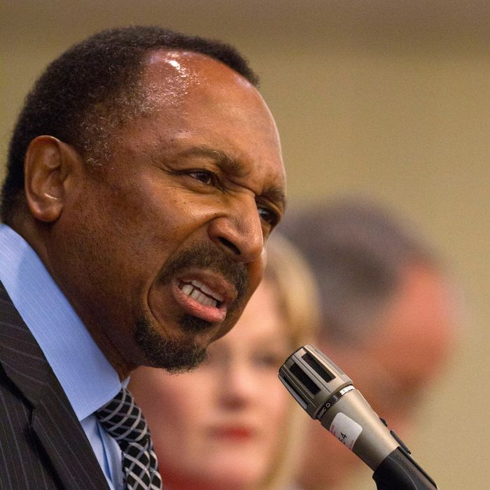 Chesapeake minister E.W. Jackson, speaks at the last Virginia Republican Senatorial debate before the June 12 Virginia primary, at the Fairview Park Marriott, in Falls Church, Va., on Friday, May 25, 2012. (AP Photo/Jacquelyn Martin)