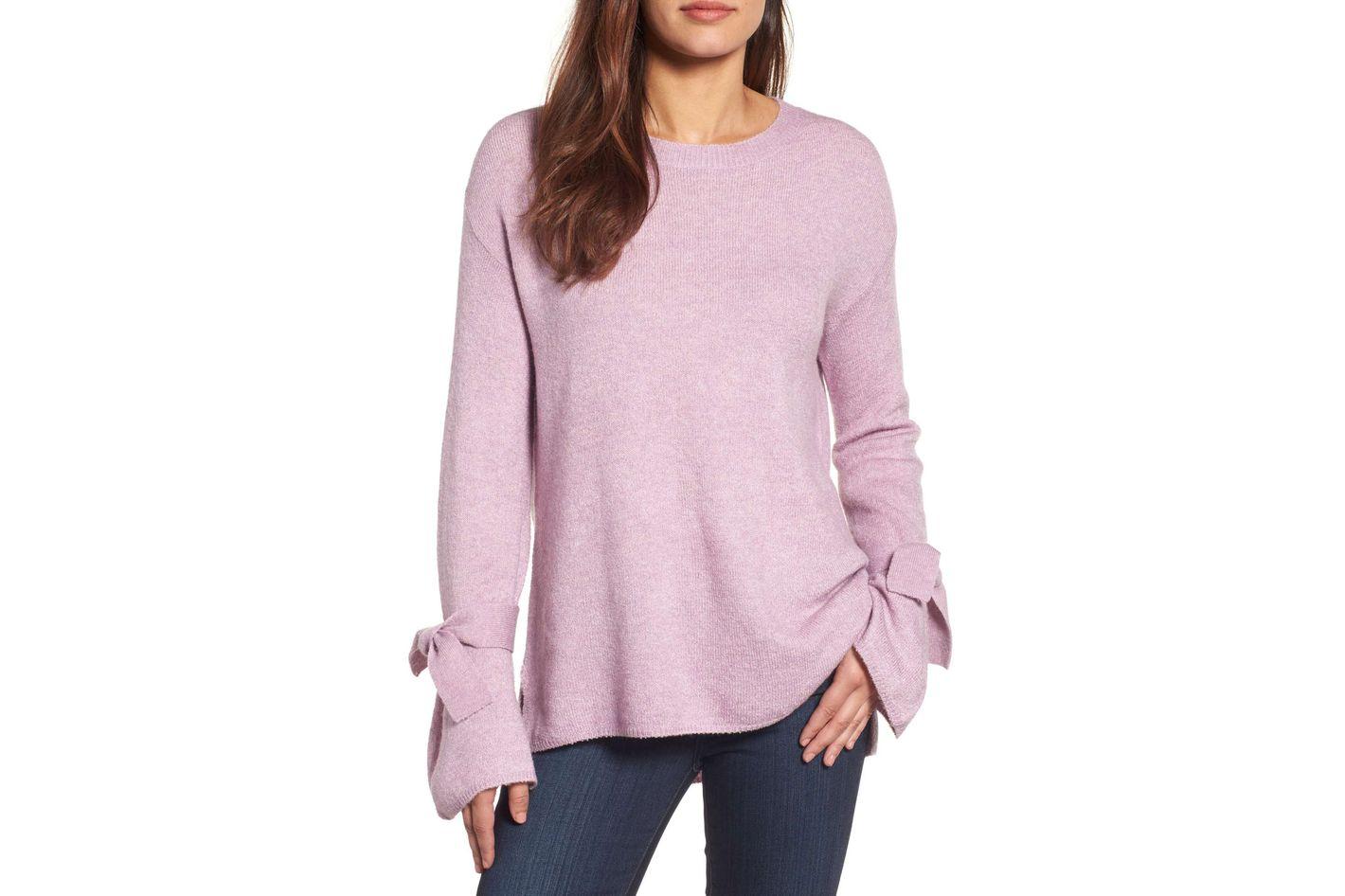 Halogen Tie Bell Sleeve Sweater