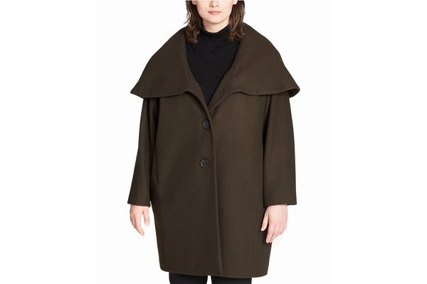 DKNY Shawl Collar Hooded Walker Coat