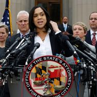 Marilyn Mosby, Baltimore state's attorney, speaks during a media availability, Friday, May 1, 2015 in Baltimore. Mosby announced criminal charges against all six officers suspended after Freddie Gray suffered a fatal spinal injury while in police custody.  (AP Photo/Alex Brandon)