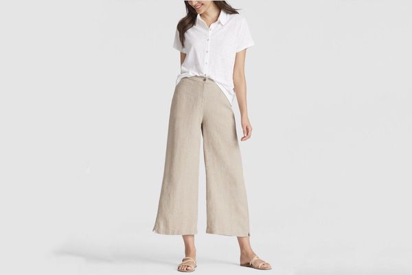 Eileen Fisher Heavy Organic Linen Cropped Pants