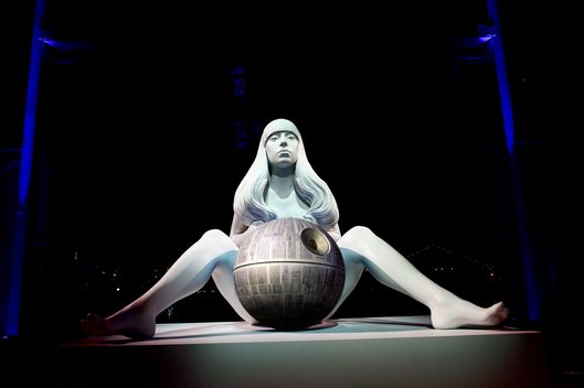 "A Jeff Koons sculpture representing US singer Lady Gaga is on display during the presentation of her new album ""ARTPOP"" in New York, November 10, 2013. AFP PHOTO / Emmanuel Dunand        (Photo credit should read EMMANUEL DUNAND/AFP/Getty Images)"