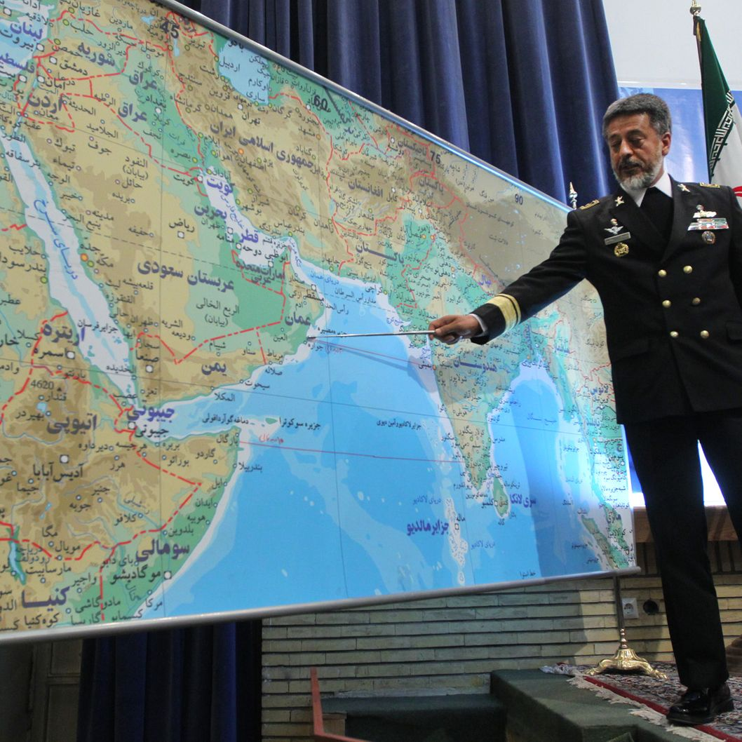Iran's Navy Commander Admiral Habibollah Sayari points at a map during a press conference in Tehran on December 22, 2010, as saying that Iran will launch 10 days of naval drills from December 24, covering east of Strait of Hormuz and the Gulf of Oman to the Gulf of Aden. AFP PHOTO/HAMED JAFARNEJAD/FARS NEWS/Fars News (Photo credit should read Hamed Jafarnejad/AFP/Getty Images)