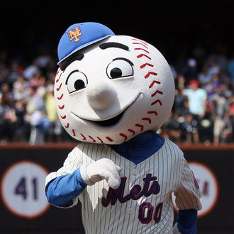'Mr. Met' performs during the game between the New York Mets and the Milwaukee Brewers at Citi Field on August 21, 2011.