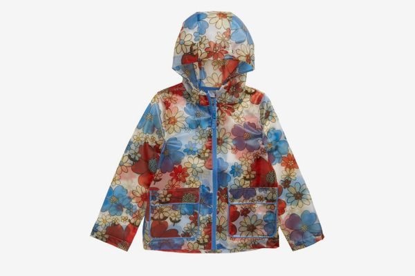 Mini Boden Floral Print Translucent Waterproof Raincoat