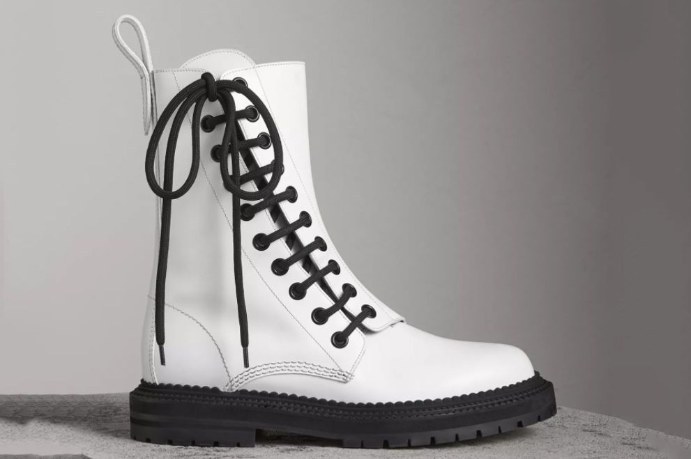 Burberry Leather Asymmetric Lace-up Boots