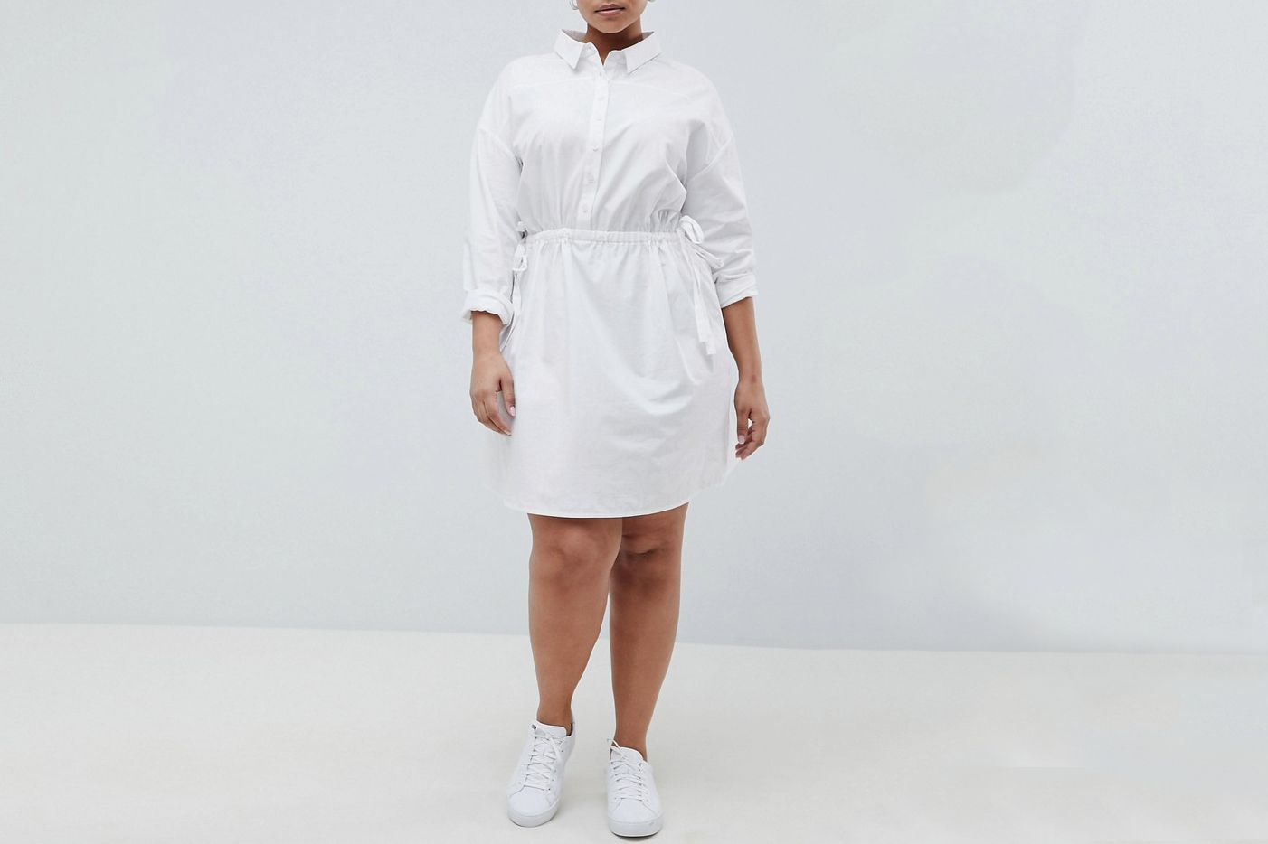 ASOS CURVE Cotton Shirt Dress with Ruching