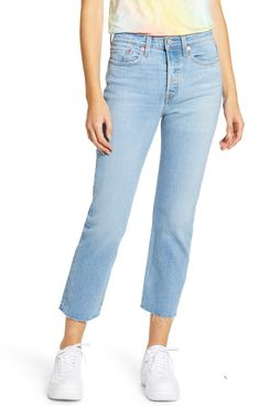 Levi's Wedgie High Waist Raw Hem Straight Leg Jeans
