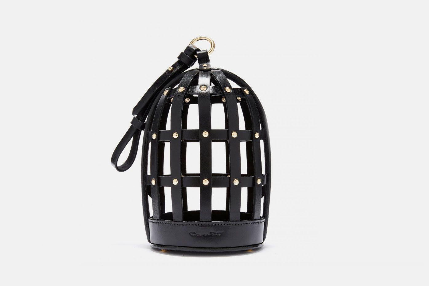 Black Leather Birdcage Bag