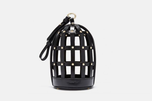Black Leather Birdcage Bag