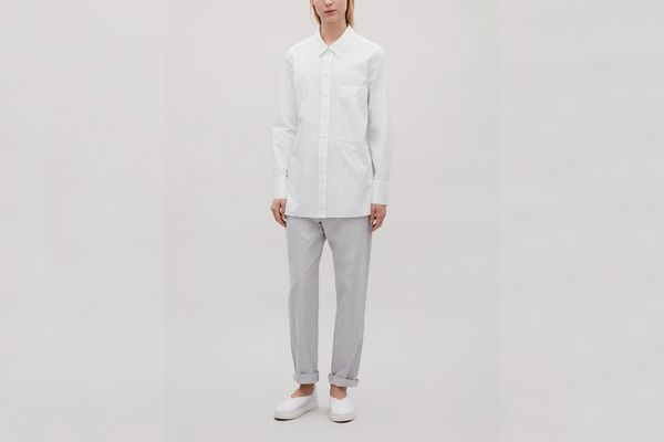 COS Poplin Shirt With Patch Pocket in White