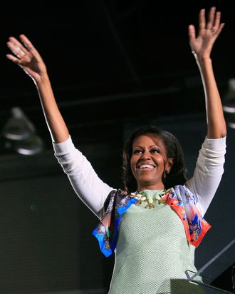 Michelle Obama, in a Miss Wu dress.