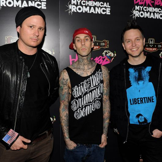 WEST HOLLYWOOD, CA - MAY 23:  (L-R) Musicians Tom DeLonge, Travis Barker and Mark Hoppus of blink-182 pose at a press party of announce the 2011 Honda Civic Tour featuring blink-182 and My Chemical Romance at the Rainbow Bar and Grill on May 23, 2011 in West Hollywood, California.  (Photo by Kevin Winter/Getty Images)