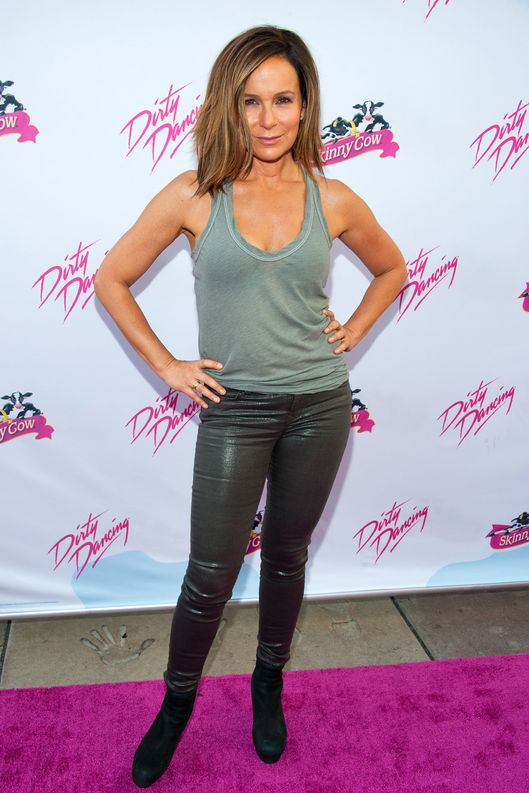 "Actress Jennifer Grey arrives at the Skinny Cow brand celebration of the 25th anniversary of Lionsgate's ""Dirty Dancing"" screening at Grauman's Chinese Theatre on August 21, 2012 in Hollywood, California."