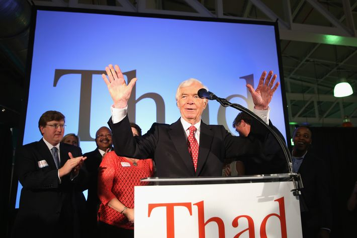 "JACKSON, MS - JUNE 24:  U.S. Sen. Thad Cochran (R-MS) speaks to supporters during his ""Victory Party"" after holding on to his seat after a narrow victory over Chris McDaniel at the Mississippi Children's Museum on June 24, 2014 in Jackson, Mississippi. Cochran, a 36-year Senate incumbent, defeated Tea Party-backed Republican candidate Mississippi State Sen. Chris McDaniel in a tight runoff race.  (Photo by Justin Sullivan/Getty Images)"
