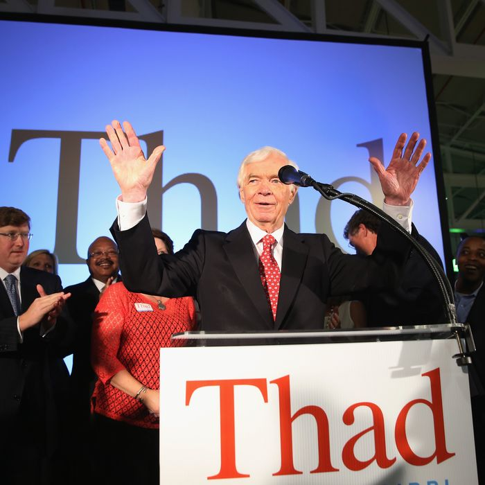 JACKSON, MS - JUNE 24: U.S. Sen. Thad Cochran (R-MS) speaks to supporters during his