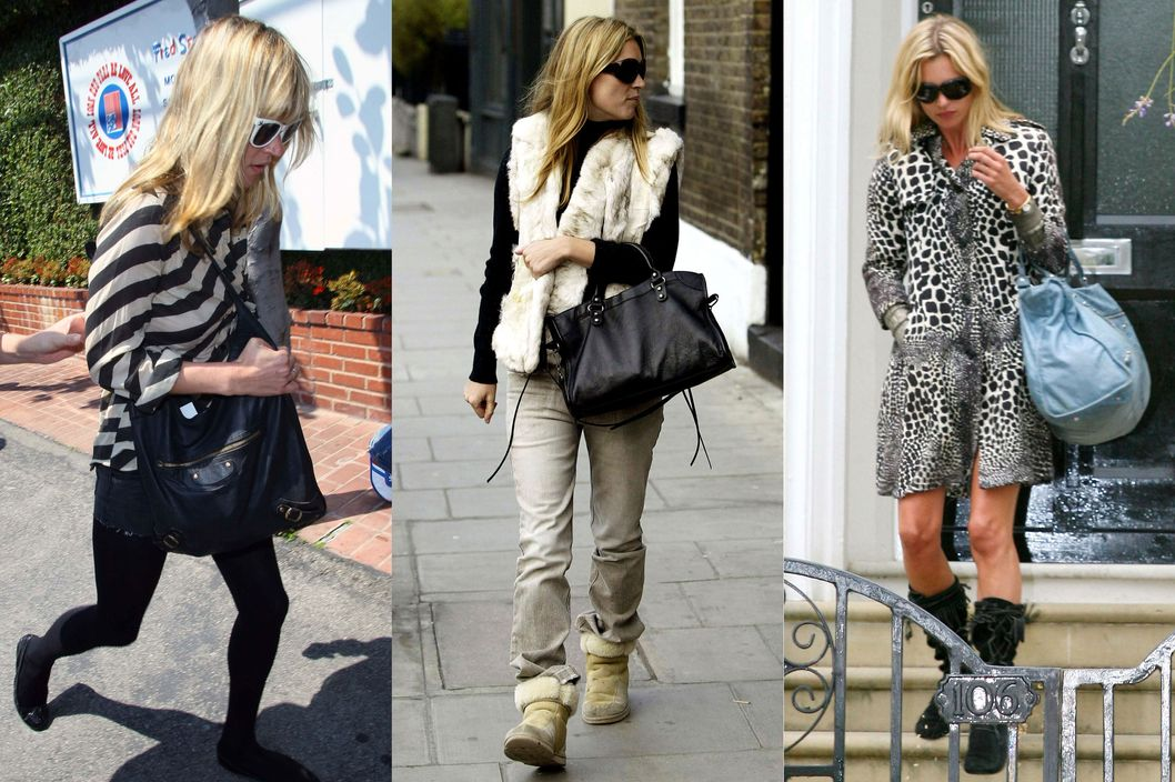 Kate Moss with her Balenciaga bags