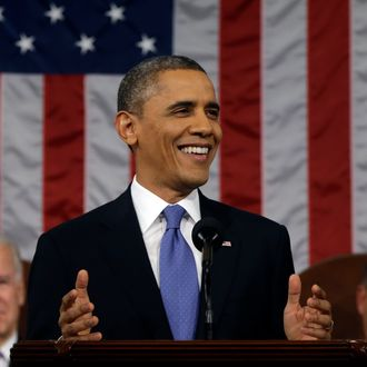 WASHINGTON, DC - FEBRUARY 12: U.S. President Barack Obama, flanked by Vice President Joe Biden and House Speaker John Boehner (R-OH), delivers his State of the Union speech before a joint session of Congress at the U.S. Capitol February 12, 2013 in Washington, DC. Facing a divided Congress, Obama focused his speech on new initiatives designed to stimulate the U.S. economy. (Photo by Charles Dharapak-Pool/Getty Images)