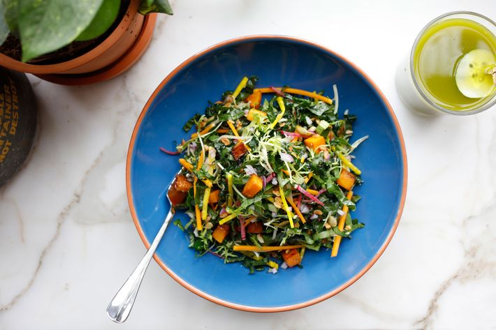 All Day, Every Day Salad: chopped greens, diced raw market vegetables,
