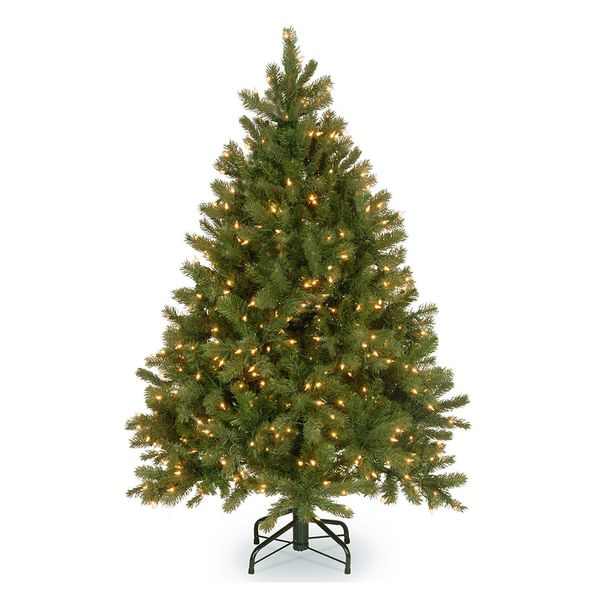 """National Tree 4.5 Foot """"Feel Real"""" Downswept Douglas Fir Tree With 450 Clear Lights"""