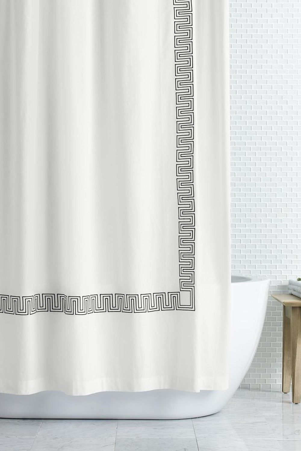 "Hotel Collection Greek Key Embroidered 72"" x 72"" Shower Curtain"