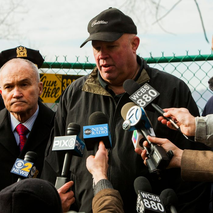 NEW YORK, NY - DECEMBER 1: (L-R) Fire Department of New York (FDNY) Commissioner Edward Kilduff, Commissioner of the New York City Police Department (NYPD) Ray Kelly, MTA Chairman and CEO Thomas F. Prendergast, and New York Gov. Andrew M. Cuomo speak to the media after Metro-North train derailed near the Spuyten Duyvil station December 1, 2013 in the Bronx borough of New York City. Multiple injuries and several deaths were reported after the seven car train left the tracks as it was heading to Grand Central Terminal along the Hudson River line. (Photo by Christopher Gregory/Getty Images)
