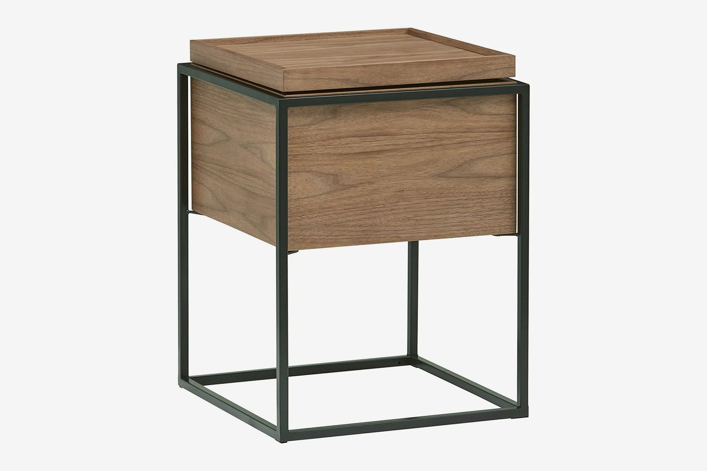 Rivet Axel Lid Storage Wood and Metal Side Table